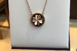 银925玛瑙四叶草套链